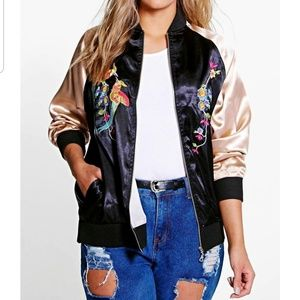 Black Bomber Jacket Multicolor 8 US Flower Bird